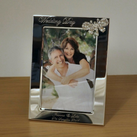 Crystal Butterfly Portrait Photo Frame Personalised Wedding Gift